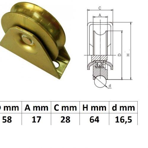 TTKG60U, Talpas tolókapu görgő U profil, 60 mm