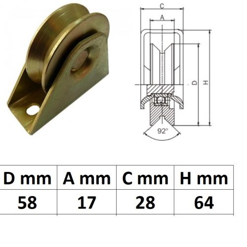 TTKG60Y, Talpas tolókapu görgő Y profil, 60 mm
