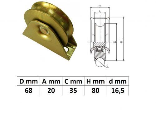 TTKG70U, Talpas tolókapu görgő U profil, 70 mm