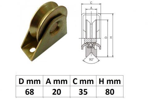 TTKG70Y, Talpas tolókapu görgő Y profil, 70 mm