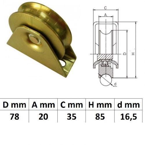 TTKG80U, Talpas tolókapu görgő U profil, 80 mm