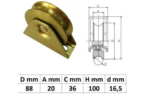 TTKG90U, Talpas tolókapu görgő U profil, 90 mm