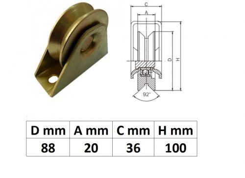 TTKG90Y, Talpas tolókapu görgő Y profil, 90 mm