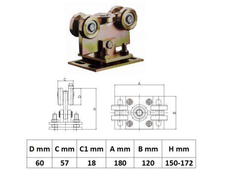 UKG5K80x80Á, Állítható Úszókapu görgő 5 kerék 80x80-es sínhez